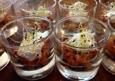 Tartare de saumon et son émulsion de citron vert